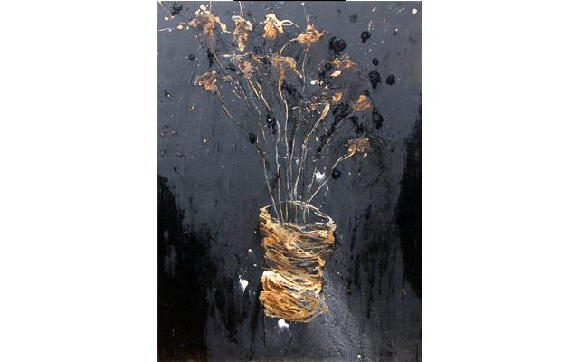 Grand bouquet sur fond noir
